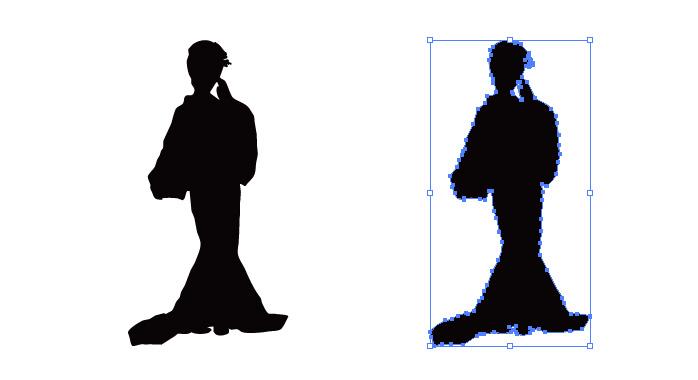 踊る着物の女性のシルエット・影絵素材