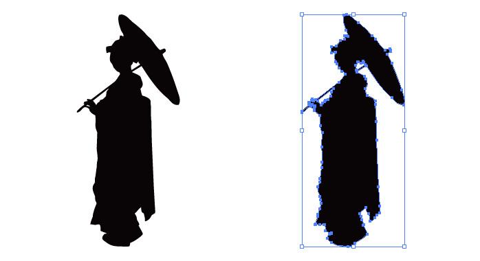 和傘をさす和装の女性のシルエット・影絵素材