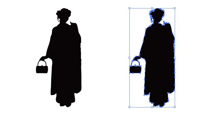 バックを持つ着物の女性のシルエット・影絵素材