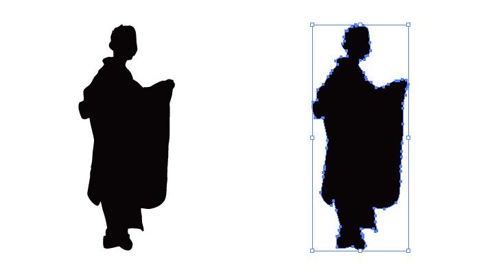 和装姿の女性のシルエット・影絵素材