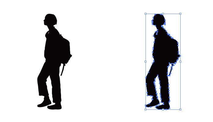 リュックを背負うショートカットの女性のシルエット・影絵素材
