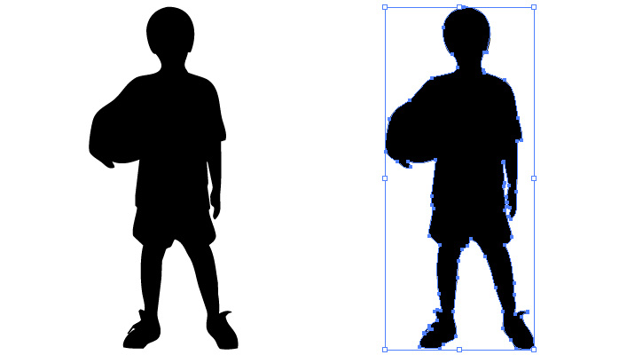 ボールを持った男の子のシルエット・影絵素材