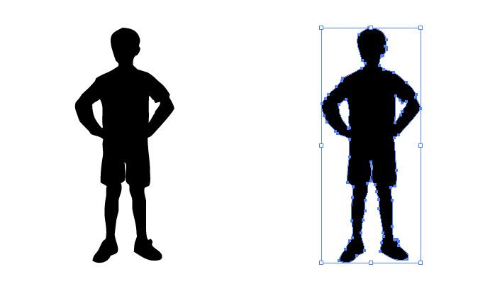 腰に手をかけた男の子のシルエット・影絵素材