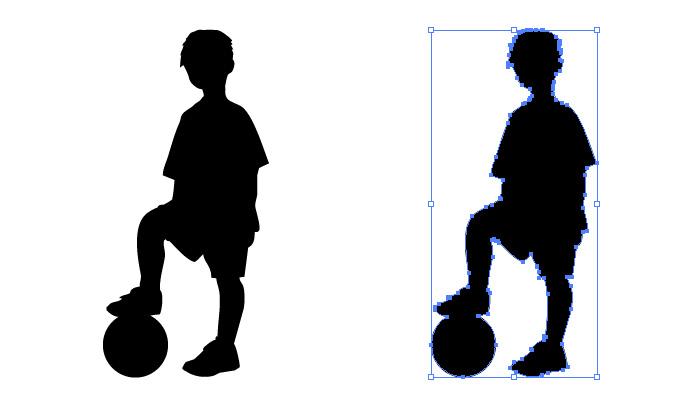 ボールの上に足を置く男の子のシルエット・影絵素材