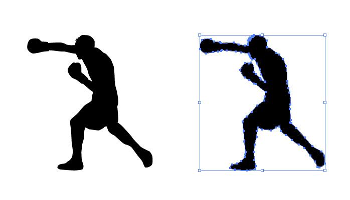 ボクシングの右ストレートのシルエット・影絵素材