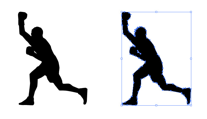 ボクシングのアッパーのシルエット・影絵素材