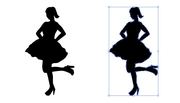 フリフリスカートの女性アイドルのシルエット・影絵素材