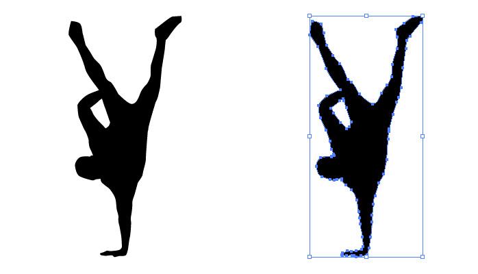 ブレイクダンスをする男性のシルエット・影絵素材