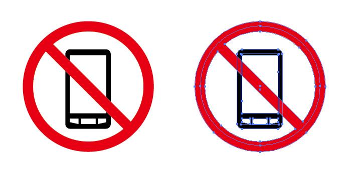 スマホの利用禁止を表す案内標識アイコンマーク