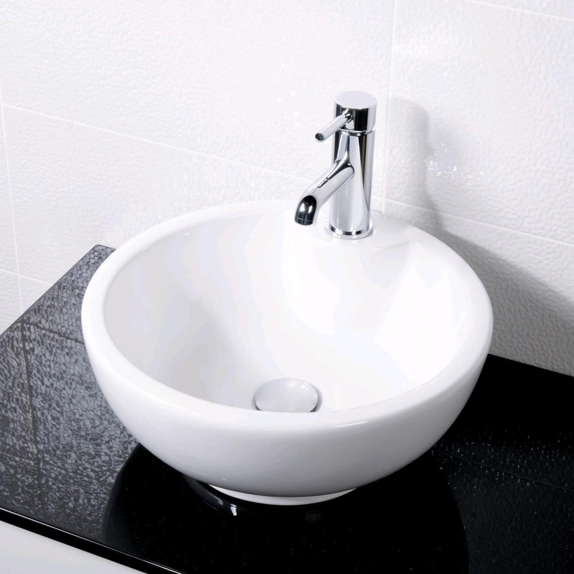 Round Counter Top Basin 1 Tap Hole White Ceramic Wash Bowl ...