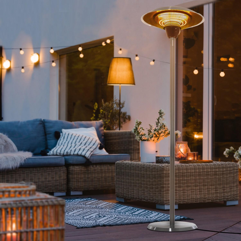 electriq mushroom style electric infrared patio heater silver