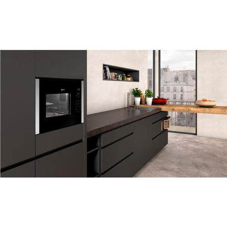 neff hlagd53n0b 900w 25l compact height built in microwave with grill for a 60cm wide cabinet stainless steel