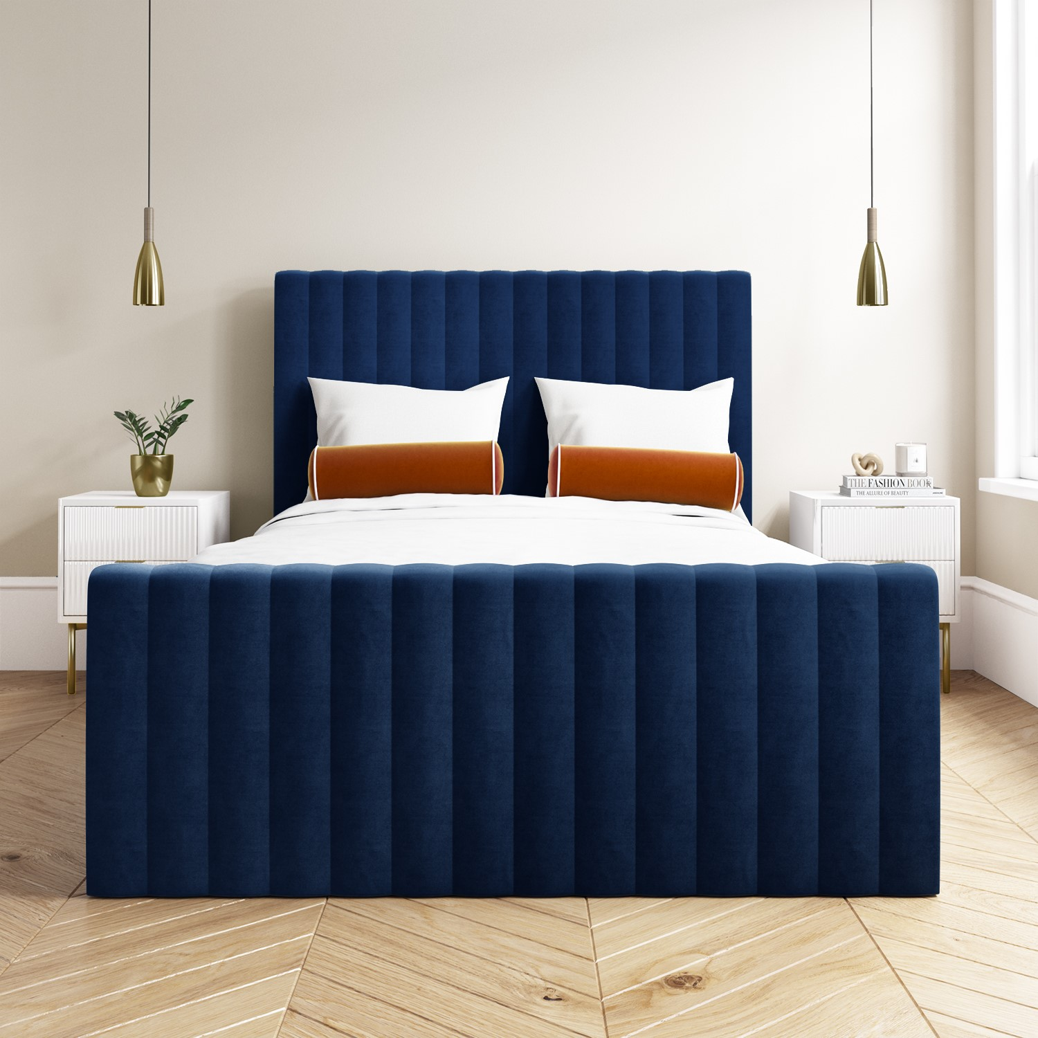details about double velvet ottoman bed in navy blue side storage