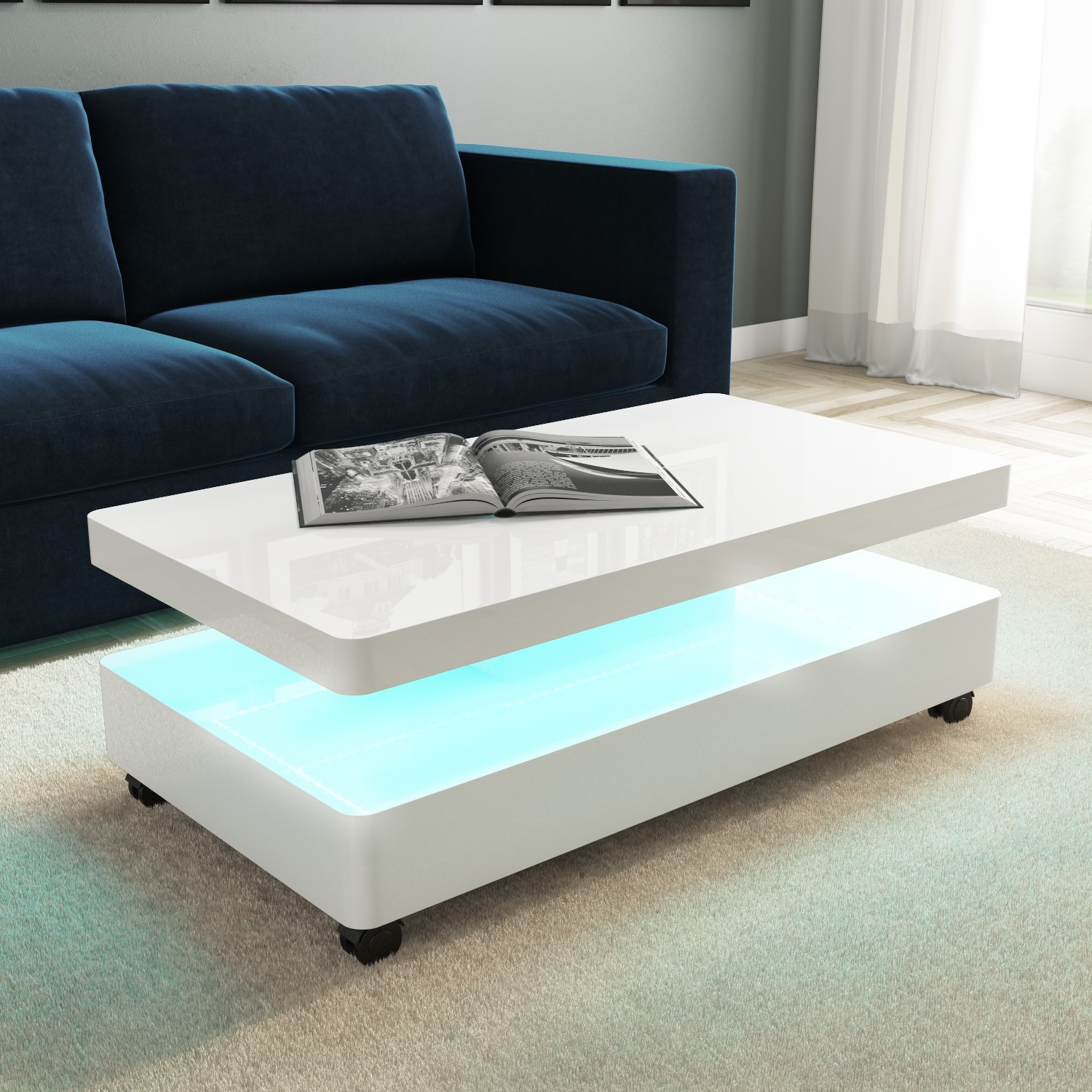 details about high gloss white coffee table with led lighting