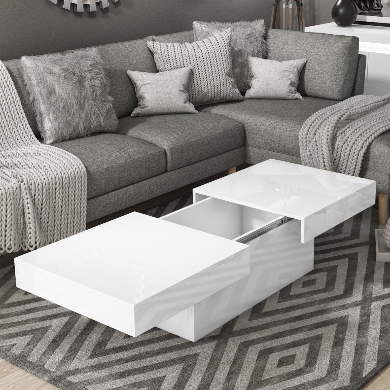 details about white gloss storage coffee table rectangular tiffany tiff037