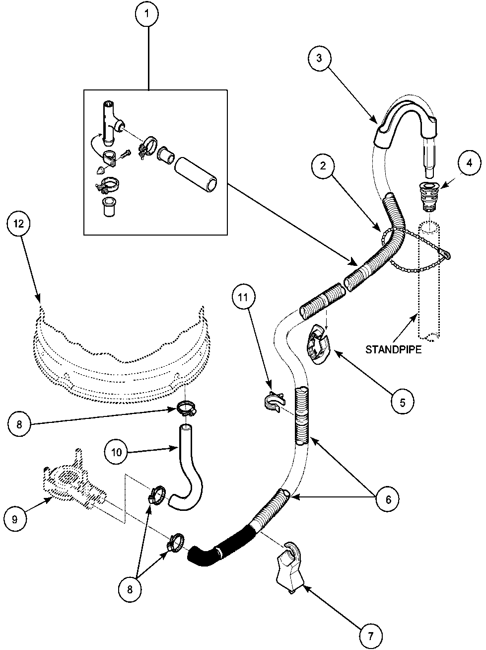 Lwa40aw2 top loading washer drain hose and siphon break parts diagram