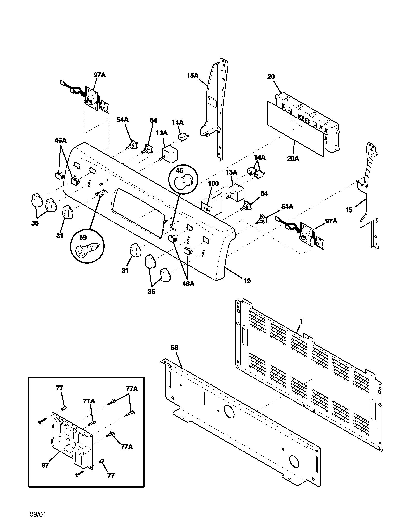 Frigidaire Plef398aca Electric Range Timer