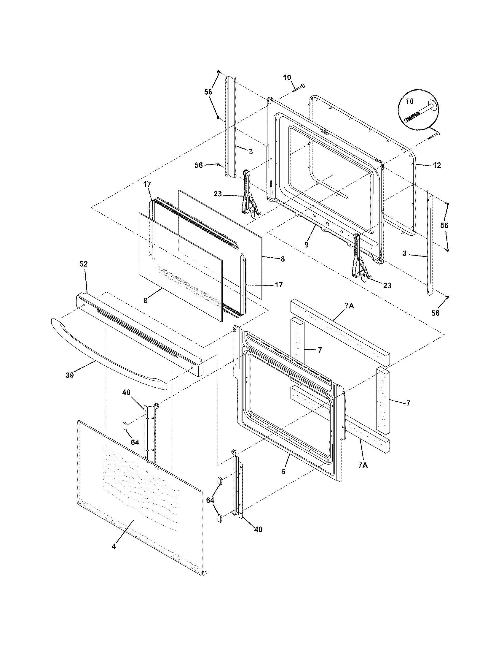 Cfef372cs2 electric range door parts diagram