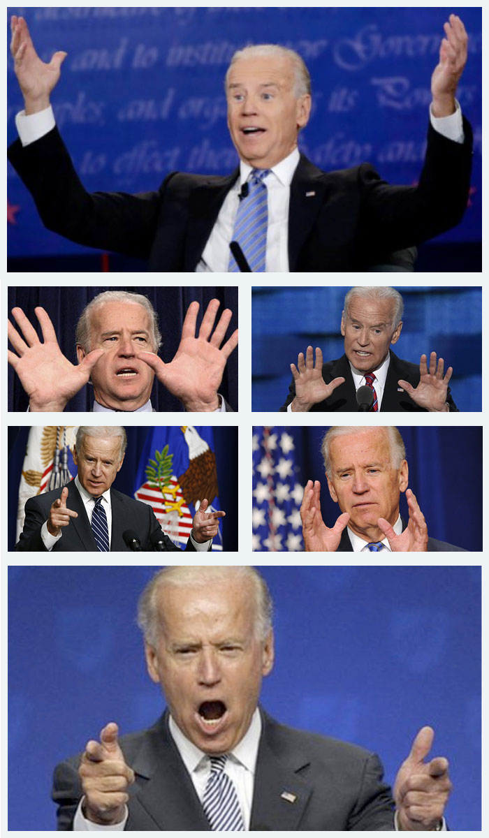 Joe Biden gesticulating wildy