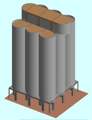 Nonlinear Dynamic analysis - Ambev Silo Demolition:  ELS model of the small silos - Applied Science International