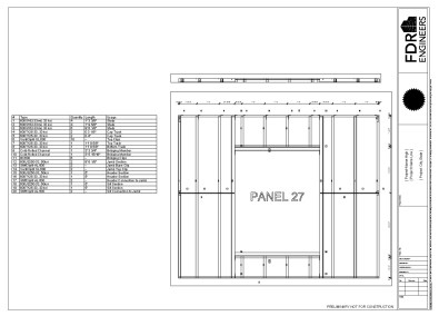 Cold Formed Steel BIM Software - Panel Drawing with Cut List - Applied Science International
