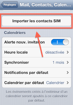 Importer contact iPhone