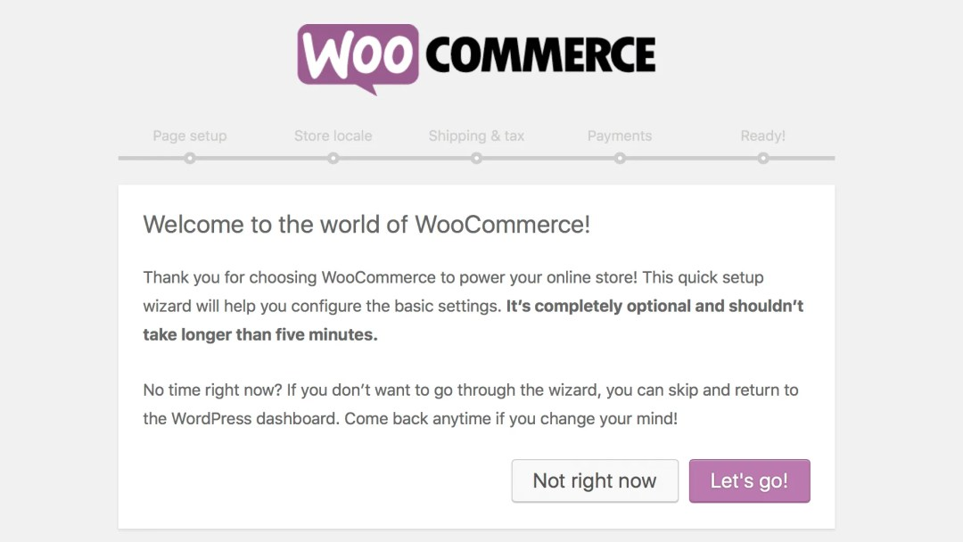 Welcome screen for woocommerce setup wizard