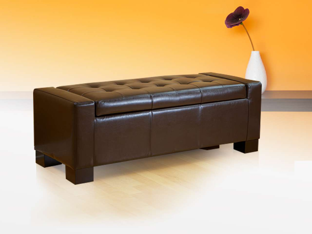 leather black trays wooden ottoman