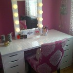 Vanity Makeup Table Set With Lighted Mirror Bedroom Lights Ideas Ikea Vintage Drawers Storage Apppie Org