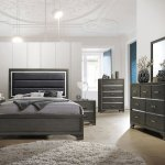 Queen Or King Size Modern Gray Wood With Faux Leather Headboard Grey Bedroom Set Atmosphere Ideas Full Sizes And Bed Twin Vs Difference Cot Dimensions Apppie Org