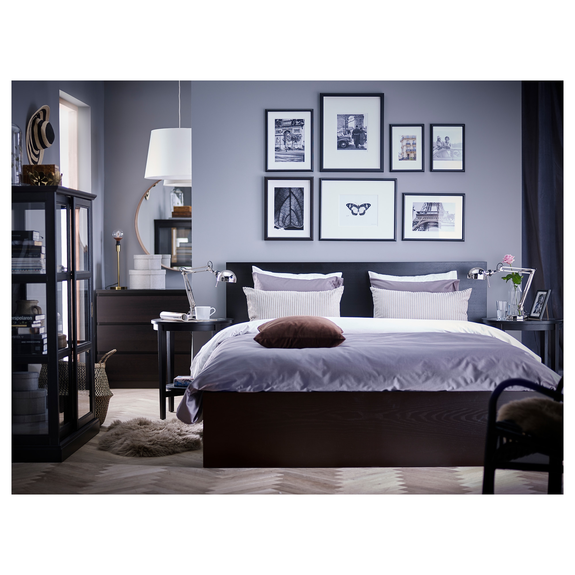 Bedding Exciting Black Wood King Size Platform Bed Sets