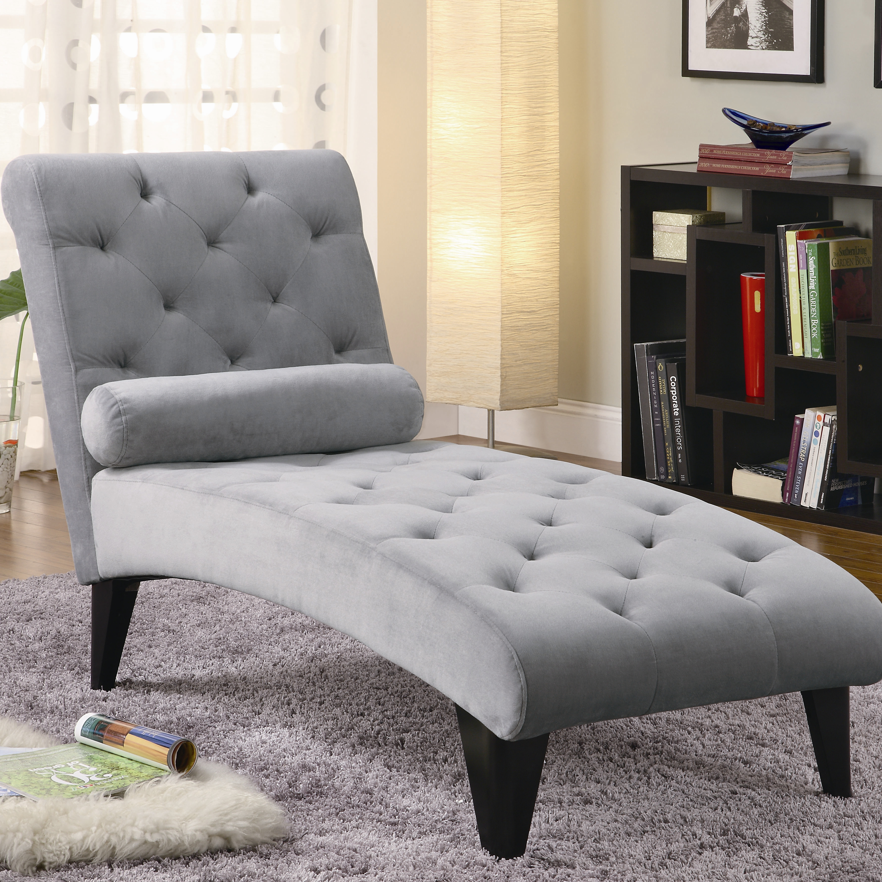Full Bonded Leather Tufted Chaise Lounge With Chrome Legs