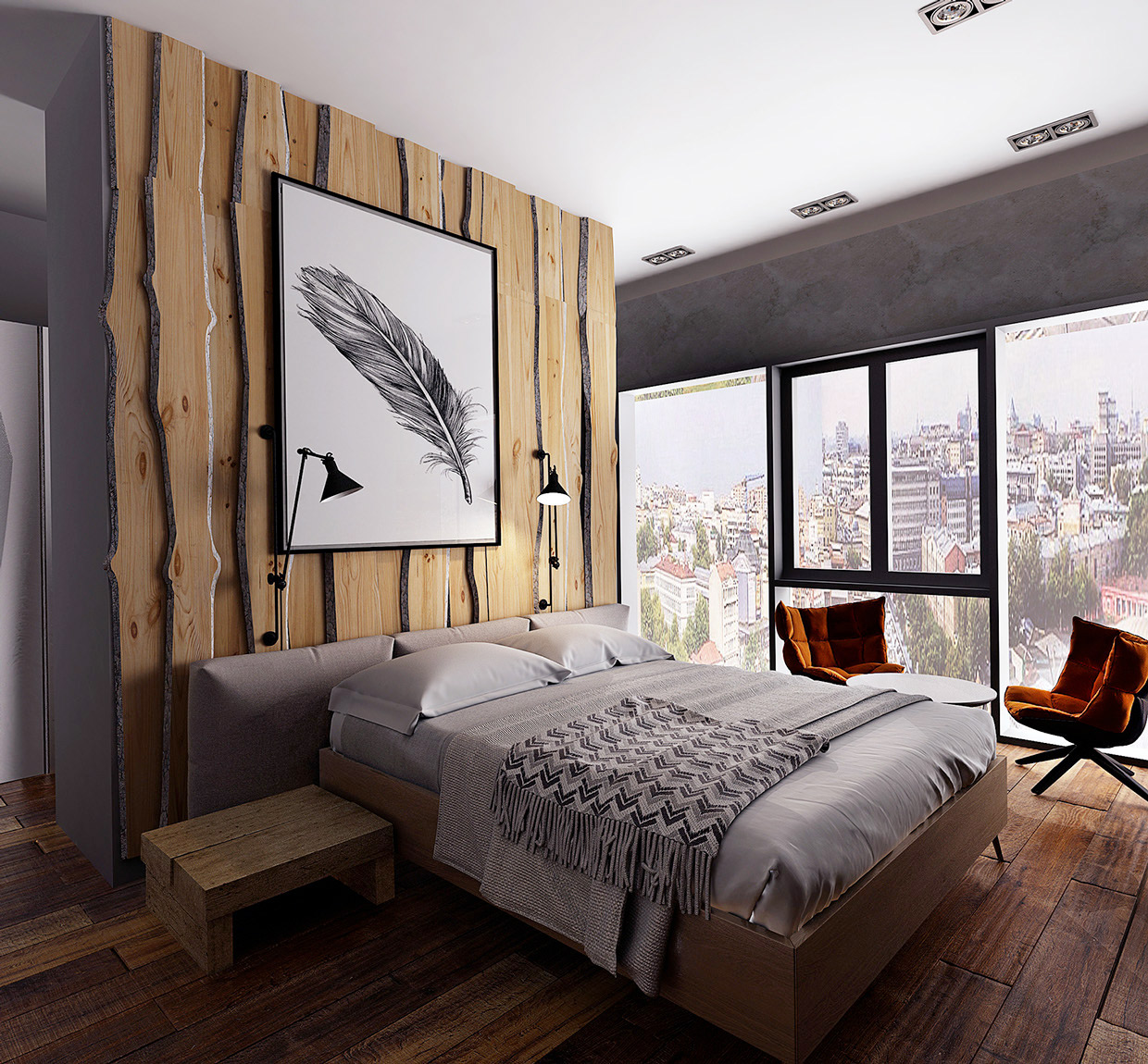 Rustic Contemporary Bedroom Glamorous Design Modern