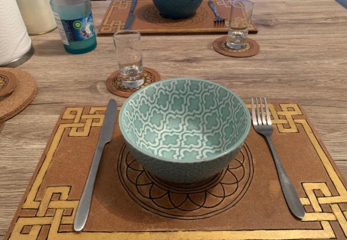 DIY cadeau fait main pyrogravure – lot de set de table