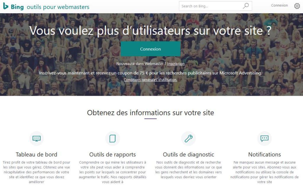 Interface d accueil de Bing Webmaster Tools