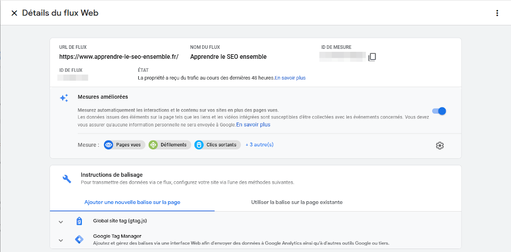"""Page """"Details du flux web"""" dans Google Analytics 4"""