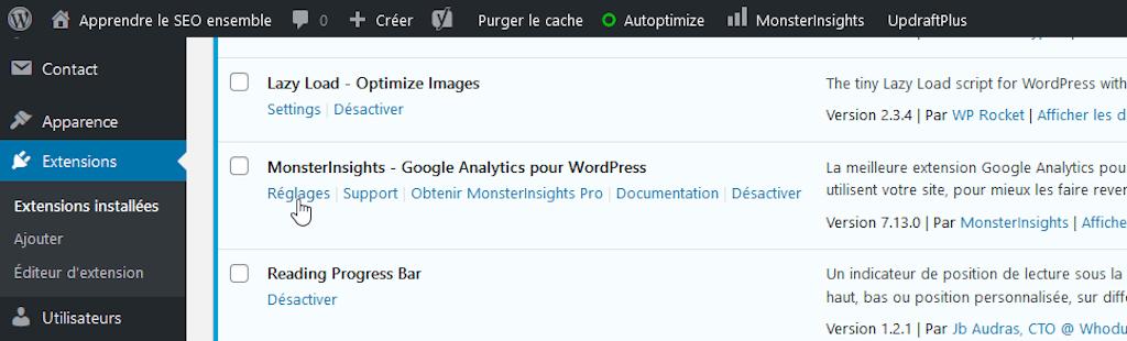 Installer Google Analytics avec un plugin : MonsterInsights