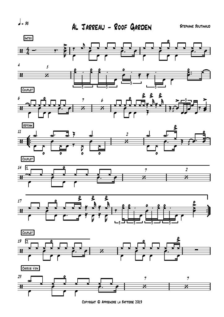 """Partition batterie Al Jarreau """"Roof Garden"""""""