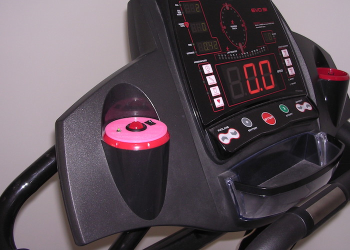 Image of the doorbell alert light installed on the Smooth Fitness Evo 3I treadmill