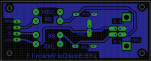 Board layout of the USB breakout board for V-USB showing only those details of the board necessary for photo-etching