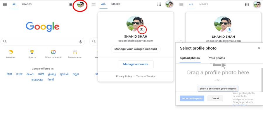 how to change profile picture on Google