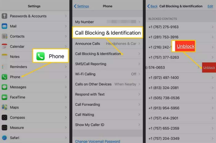 how to unblock contact on iPhone