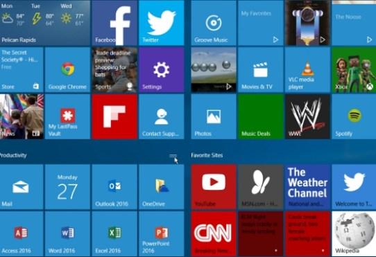 group start menu tiles into folders on windows 10