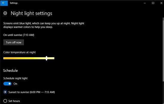 night light feature settings windows 10