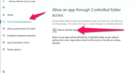 allow apps through controlled folder access