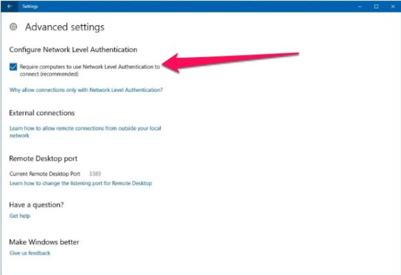 enable remote desktop on windows 10