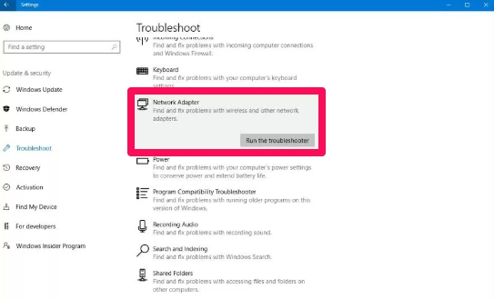 network adapter troubleshooter windows 10