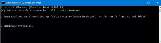 forfiles command prompt windows 10