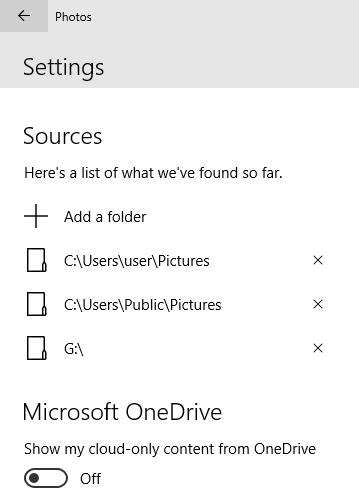 photos app sources windows 10