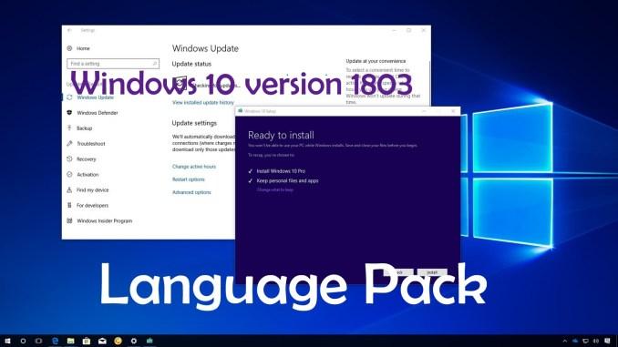 Windows 10 1803 Build Language Pack